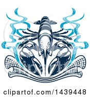 Clipart Of A Navy Blue Lobster With A Net Royalty Free Vector Illustration