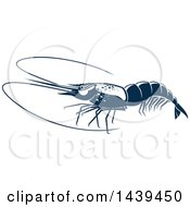 Clipart Of A Navy Blue Shrimp Royalty Free Vector Illustration
