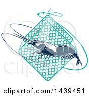 Clipart Of A Navy Blue Shrimp And Netting Royalty Free Vector Illustration