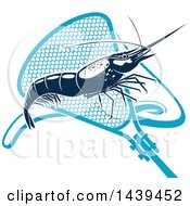 Clipart Of A Navy Blue Shrimp And Net Royalty Free Vector Illustration