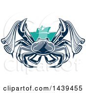 Clipart Of A Navy Blue Crab With Netting And A Boat Royalty Free Vector Illustration