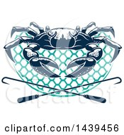 Clipart Of A Navy Blue Crab On A Net With Hooks Royalty Free Vector Illustration