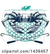 Clipart Of A Navy Blue Crab On A Net Under A Boat With Hooks Royalty Free Vector Illustration