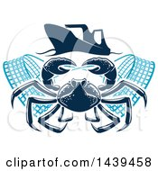Clipart Of A Navy Blue Crab With Nets Under A Boat Royalty Free Vector Illustration