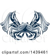 Clipart Of A Navy Blue Crab With Nets Royalty Free Vector Illustration