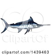 Clipart Of A Sketched And Colored Marlin Fish Royalty Free Vector Illustration