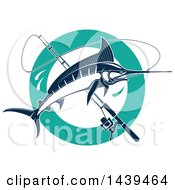 Clipart Of A Navy Blue Marlin Fishand A Pole Royalty Free Vector Illustration