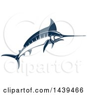 Clipart Of A Navy Blue Marlin Fish Royalty Free Vector Illustration