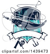 Clipart Of A Catfish In A Shield With A Fishing Hook And Pole Royalty Free Vector Illustration