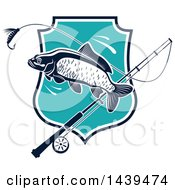 Clipart Of A Carp Fish And Pole Over A Shield Royalty Free Vector Illustration