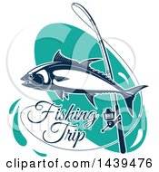Clipart Of A Tuna Fish With A Pole And Fishing Trip Text Royalty Free Vector Illustration by Vector Tradition SM