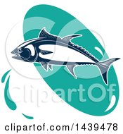 Clipart Of A Tuna Fish Over A Turquoise Oval Royalty Free Vector Illustration