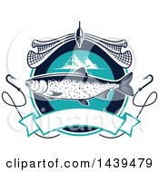 Clipart Of A Salmon With A Net Mountains And Hooks Royalty Free Vector Illustration