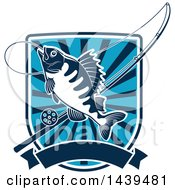 Clipart Of A Perch Fish In A Shield With A Fishing Pole Royalty Free Vector Illustration