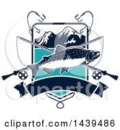 Clipart Of A Salmon Over Crossed Fishing Poles With Hooks In A Mountain Shield Royalty Free Vector Illustration