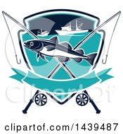 Clipart Of A Navaga Fish In A Shield With Boats And Poles Royalty Free Vector Illustration