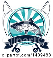 Clipart Of A Crucian Fish With Poles Royalty Free Vector Illustration