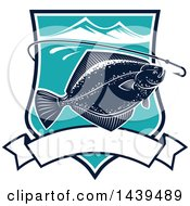 Clipart Of A Flounder Fish In A Shield With A Hook Royalty Free Vector Illustration