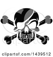 Clipart Of A Black And White Pirate Skull With Crossed Bones And An Eye Patch Royalty Free Vector Illustration