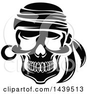 Clipart Of A Black And White Pirate Skull With A Bandana Royalty Free Vector Illustration