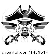 Clipart Of A Black And White Captain Pirate Skull With Crossed Swords Royalty Free Vector Illustration by Seamartini Graphics
