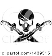 Clipart Of A Black And White Pirate Skull With Crossed Swords Royalty Free Vector Illustration