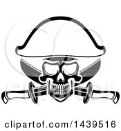 Poster, Art Print Of Black And White Captain Pirate Skull With Crossed Swords