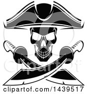 Clipart Of A Black And White Captain Pirate Skull With Crossed Swords Royalty Free Vector Illustration