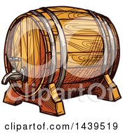 Clipart Of A Sketched Beer Keg Barrel Royalty Free Vector Illustration by Vector Tradition SM