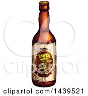 Clipart Of A Sketched Beer Bottle Royalty Free Vector Illustration