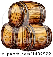 Clipart Of Sketched Beer Keg Barrels Royalty Free Vector Illustration by Vector Tradition SM