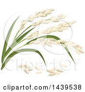 Clipart Of Rice And Stalks Royalty Free Vector Illustration by Vector Tradition SM