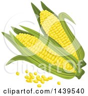 Clipart Of Corn And Kernels Royalty Free Vector Illustration by Vector Tradition SM
