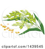 Clipart Of Millet And Stalks Royalty Free Vector Illustration by Vector Tradition SM