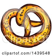 Clipart Of A Sketched Soft Pretzel Royalty Free Vector Illustration by Vector Tradition SM