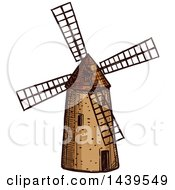 Clipart Of A Sketched Old Windmill Royalty Free Vector Illustration by Vector Tradition SM