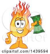 Comet School Mascot Character Holding A Banknote