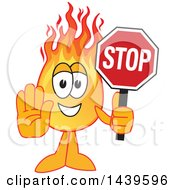 Comet School Mascot Character Holding A Stop Sign
