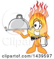 Comet School Mascot Character Waiter Holding A Cloche Platter