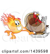 Comet School Mascot Character Stepping On A Scale To Shock A Turkey