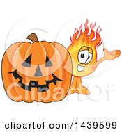 Comet School Mascot Character By A Halloween Jackolantern Pumpkin