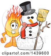 Clipart Of A Comet School Mascot Character With A Snowman Royalty Free Vector Illustration