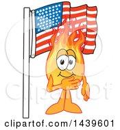 Comet School Mascot Character Pledging Allegiance To The American Flag