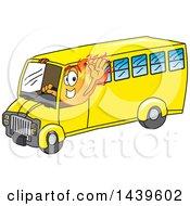 Comet School Mascot Character Driving A School Bus