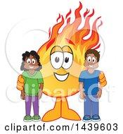 Comet School Mascot Character With Happy Students