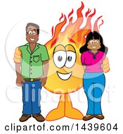 Comet School Mascot Character With Happy Parents Or Teachers