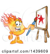 Clipart Of A Comet School Mascot Character Painting An Art Canvas Royalty Free Vector Illustration