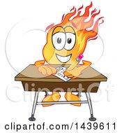 Comet School Mascot Character Student Writing At A Desk