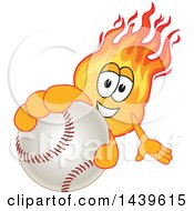 Clipart Of A Comet School Mascot Character Holding Out A Baseball Royalty Free Vector Illustration by Toons4Biz