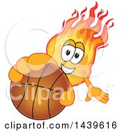 Comet School Mascot Character Holding Out A Basketball